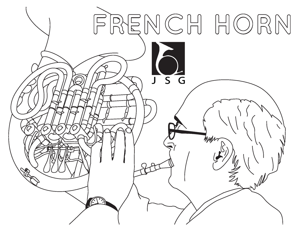 French Horn Coloring Page for Junior Symphony Guild. © 2013 Jon Gardner