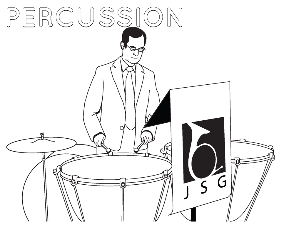 Percussion Coloring Page for Junior Symphony Guild. © 2013 Jon Gardner